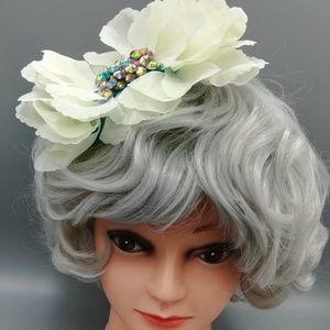 Flower and Rhinestone Large Statement Headband